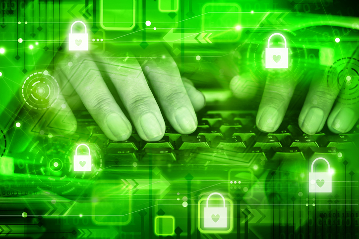 man hand on computer keyboard with security lock icon, modern technology forensic computing in green background