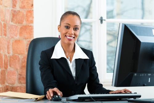 woman paralegal at desk