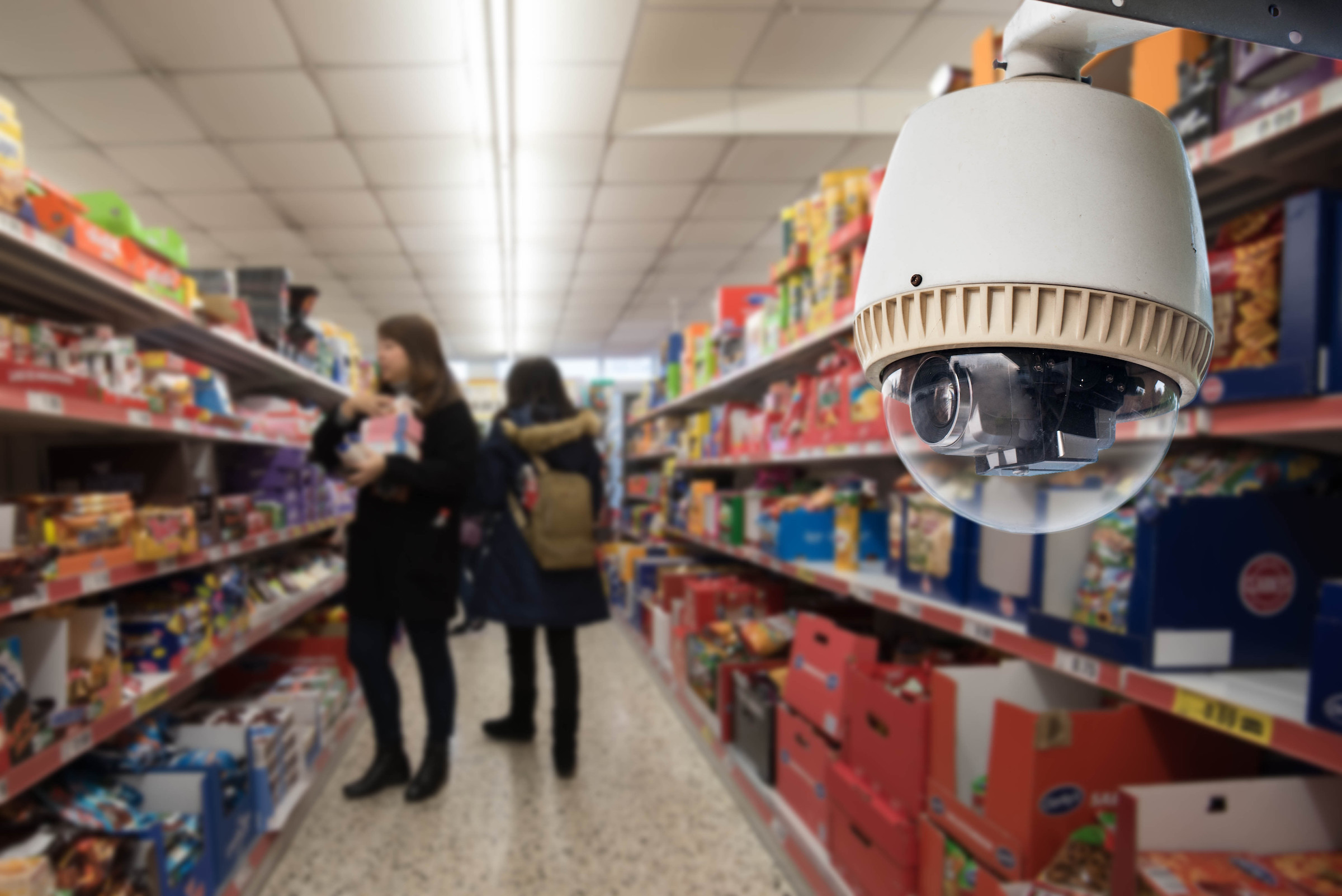 Security Camera Monitoring Shoppers in Grocery Store