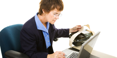 court reporter with stenotype machine